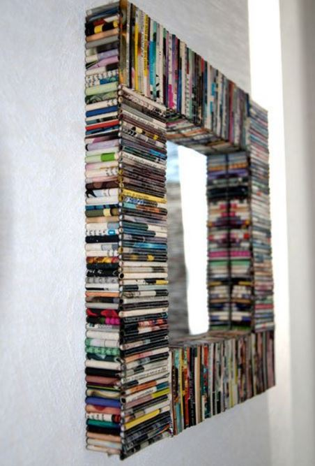 recycled magazines mirror