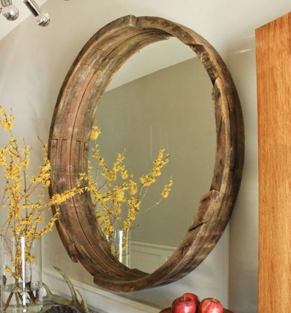 wine barrel mirror