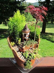 fairy gardens broken pots