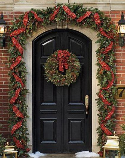 elegant front door christmas decor