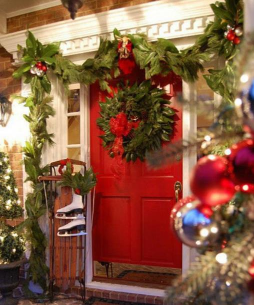 front door christmas decor with wreath and garland