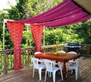 mov roz kurtina se veranta