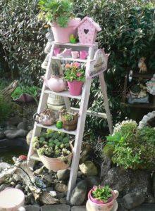 ξυλινη διπλη σκαλα για κηπο