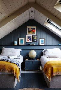 μπλε δωμάτιο σε σοφίτα