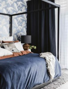 υπνοδωμάτιο με μπλε χρώμα