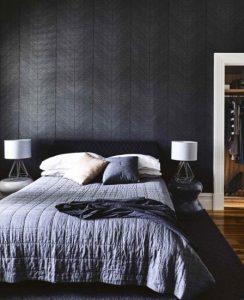 μοντέρνο υπνοδωμάτιο σε μαύρο χρώμα