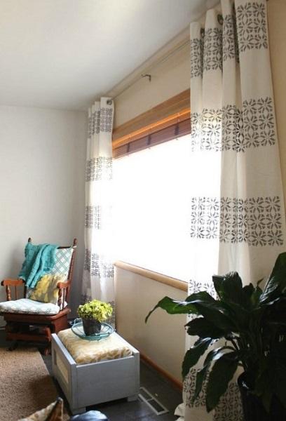 κουρτίνες σαλονιού στένσιλ σχέδια