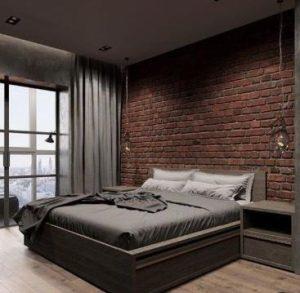 εντυπωσιακή διακόσμηση δωματίου με πέτρα στον τοίχο