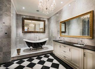 διακόσμηση μπάνιου χρυσές λεπτομέρειες