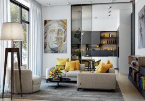 γκρι με κίτρινο σαλόνι