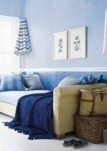 λευκό με μπλε συνδυασμοί χρωμάτων για το σαλόνι