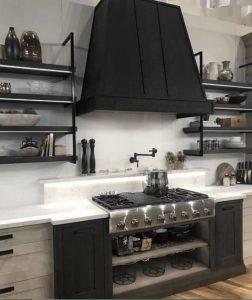 μαύρα μεταλλικά ράφια κουζίνας μία μοντέρνα επιλογή