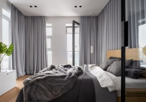 μοντέρνο γκρι υπνοδωμάτιο