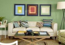 μοντέρνο σαλόνι με συνδυασμούς χρωμάτων στους τοίχους