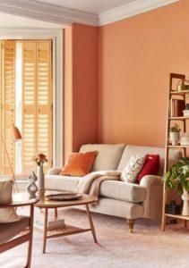 πορτοκαλί χρώμα στο σαλόνι