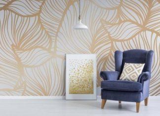 αφαιρούμενη ταπετσαρία τοίχου χρυσά φύλλα