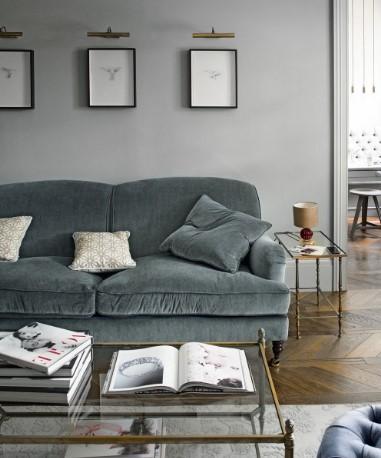 γκρι τοίχος γκρι καναπές σαλόνι χρώματα τοίχου ηρεμία