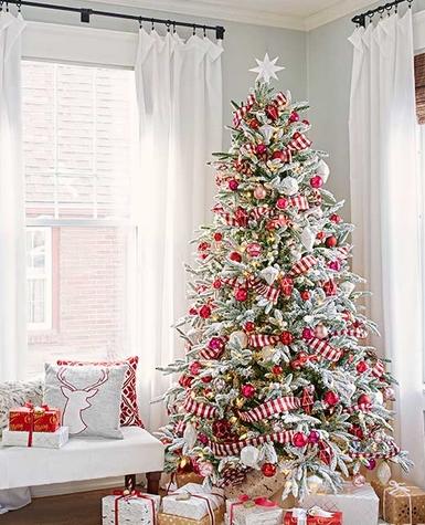 Κόκκινη άσπρη διακόσμηση δέντρου