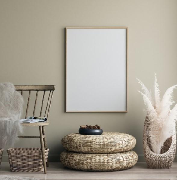 μπεζ τοίχος μπαμπού έπιπλα χρώματα τοίχου ηρεμία