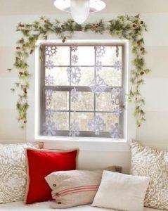νυφάδες χιονιού παράθυρο