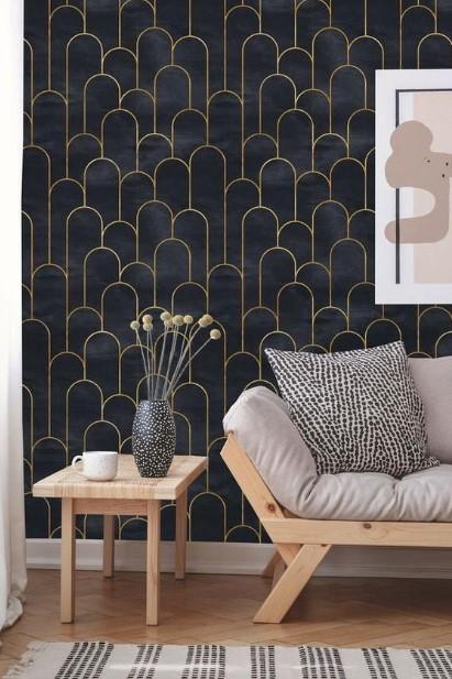 σκούρη ταπετσαρία καναπές σαλόνι ιδέες ανανεώσουν σπίτι