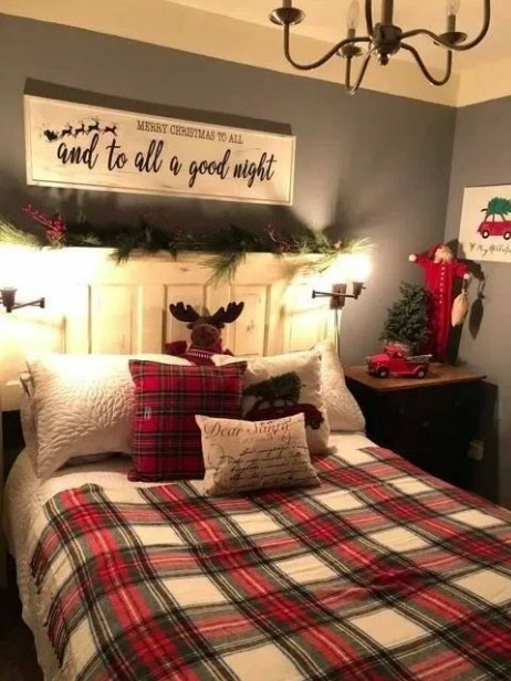στολισμένη κρεβατοκάμαρα Χριστούγεννα