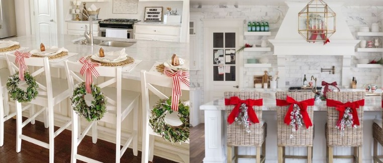 ιδέες για χριστουγεννιάτικο στολισμό καρεκλών κουζίνας