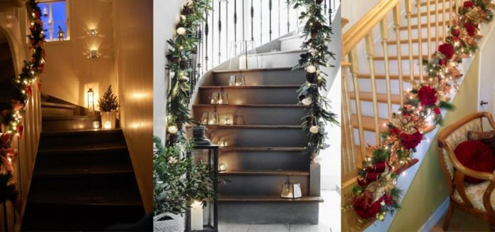 χριστουγεννιατικος στολισμός σκάλας
