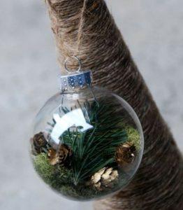 χριστουγεννιάτικη μπάλα με φυσικά υλικά