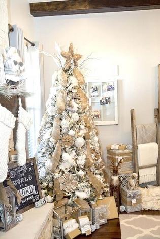 χριστουγεννιάτικο δέντρο με άσπρες μπάλες