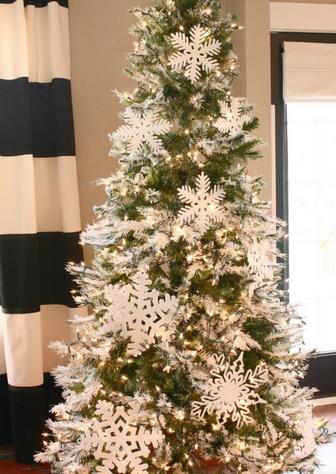 Άσπρος χριστουγεννιάτικός στολισμός: Δέντρο με χιόνομπαλες