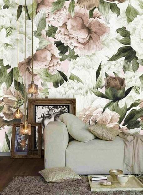 φλοράλ τοίχος σαλόνι