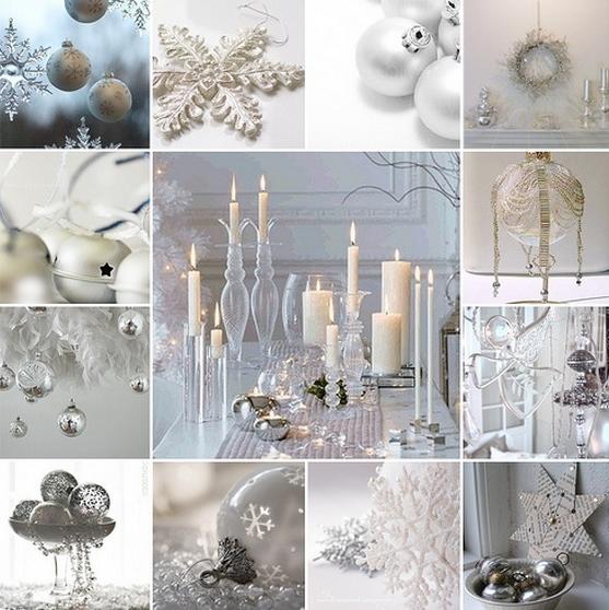 άσπρο χριστουγεννιάτικο στολισμό: άσπρα κεριά