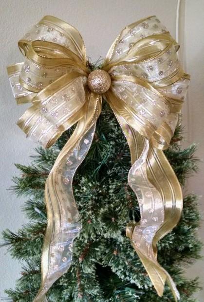 χρυσός φιόγκος κορυφές χριστουγεννιάτικο δέντρο