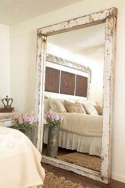 μεγάλος άσπρος rustic καθρέπτης υπνοδωμάτιο διακοσμήσεις καθρέπτες