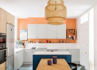 Πορτοκαλί και άσπρη κουζίνα