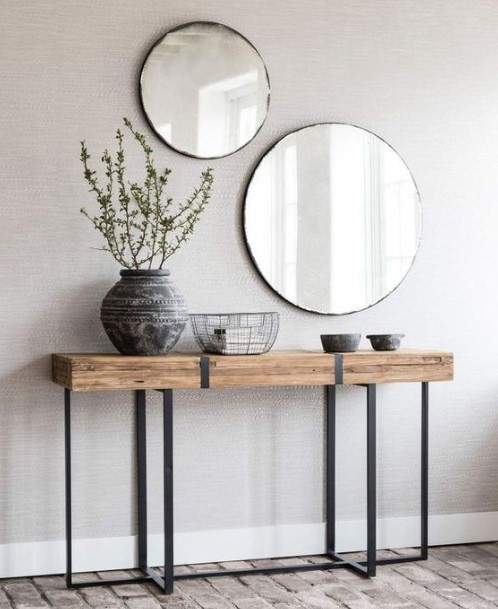 στρογυλλοί καθρέπτες έπιπλο εισόδου διακοσμήσεις καθρέπτες