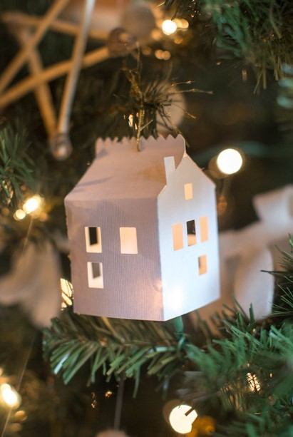 χάρτινα σπιτάκια στολίδια δέντρου χάρτινες κατασκευές Χριστούγεννα