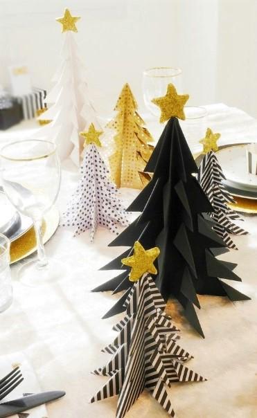 χάρτινα χριστουγεννιάτικα δεντράκια μαύρα χρυσά