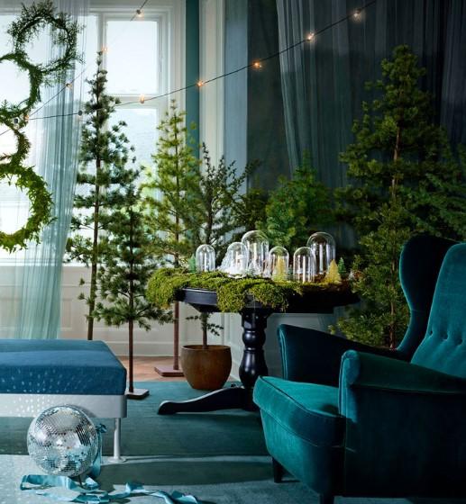 ενδεικτικά χρώματα για χριστουγεννιάτικη διακόσμηση (πράσινο, μπλε, καφέ)