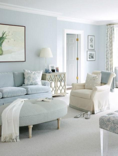 γαλάζιο σαλόνι καναπές τοίχος