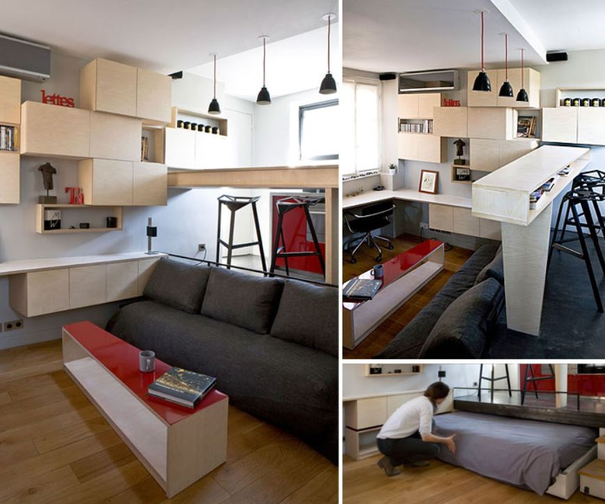 κρεβάτι κρυμμένο σε δάπεδο κουζίνας
