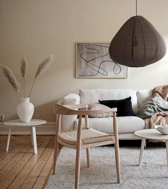 μπεζ τοίχος σαλόνι παλ έπιπλα χρώματα μικρό σαλόνι