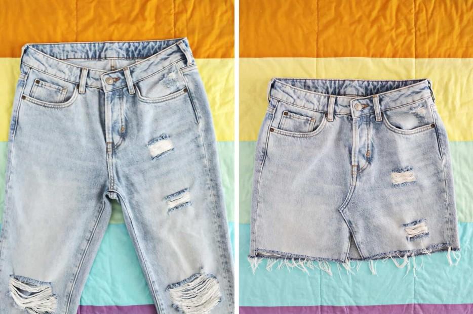 από παλιό τζιν παντελόνι σε φούστα
