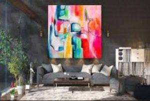 χρωματιστός πίνακας γωνιακός καναπές γκρι