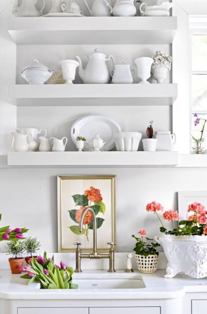άσπρη κουζίνα πίνακας λουλούδι