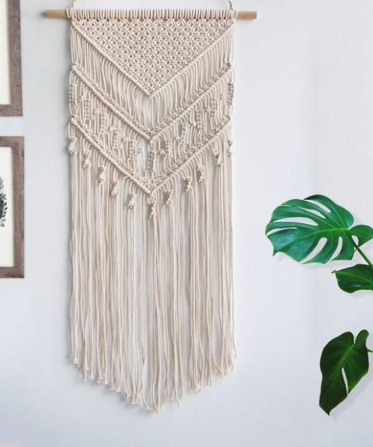 διακόσμηση τοίχου με κατασκευή από σχοινιά