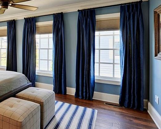 Μπλε δωμάτιο με μπλε κουρτίνες