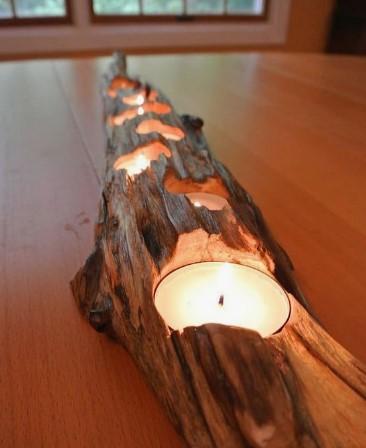 κεριά σε ξύλο