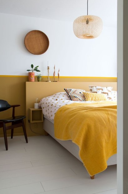 κίτρινο μουσταρδί υπνοδωμάτιο χρώματα ανοιξιάτικη διακόσμηση